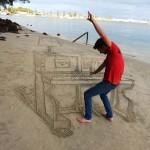 Piano en la arena
